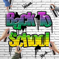 Back to school graffiti on brick wall Stock Photography