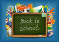 Back to school green chalkboard with supplies vector illustration Royalty Free Stock Photo