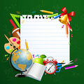 Back to school greeting card with stationery Stock Photo