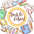 Back to School Hand Drawn Background. Educational Concept with Books, Notebook and Pen