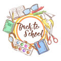 Back to School Hand Drawn Background. Educational Concept with Eyeglasses, Notebook and Paint