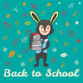 Back to school hand drawn card with Bunny student with books Royalty Free Stock Photo