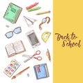 Back to School Hand Drawn Design. Educational Concept with Eyeglasses, Notebook and Paint