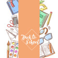Back to School Hand Drawn Design. Educational Concept with Notebook, Paints and Book