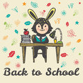 Back to school hand drawn doodle card with Bunny student Royalty Free Stock Photo