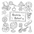 Back to school hand-drawn doodle set