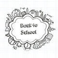 Back to school hand drawn doodles background. Education concept. Hand drawn school supplies. Vector