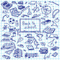Back to school, hand drawn silhouettes on squared paper, sketch, doodle,