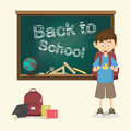 Back to school happy little boy with backpack vector illustrati illustration Royalty Free Stock Images
