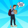 Back to School - Happy Schoolboy with Backpack and Books Gesturing Great. Pop Art Royalty Free Stock Photo