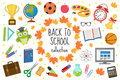 Back to school icon set, flat, cartoon style. Education collection of design elements with stationery, pencil, pen Royalty Free Stock Photo