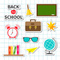 Back to school icon set Sticker collection Green Royalty Free Stock Photo