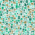 Back to school icons education seamless pattern green background illustration vector layered for easy personalization Stock Photos