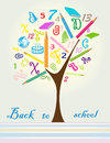 Back to school icons on the tree shaped made of Royalty Free Stock Image