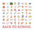 Back to school, icons, vector illustration.