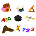 Back to school icons a vector illustration of icon sets Royalty Free Stock Photos