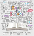 Back to school idea doodles icons and open book.