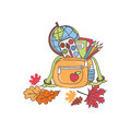 Back to school illustration of bag on white background Royalty Free Stock Photo