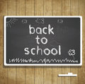 Back to school illustration with blackboard and chalk text Royalty Free Stock Photos