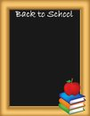 Back to school illustration a with a blackboard textbooks and an apple Royalty Free Stock Image