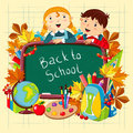 Back to school illustration with children and supplies Stock Images