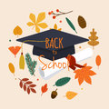 Back to school illustration with graduation cap, diploma and aut
