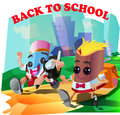 Back to school illustration that illustrate children go but in the form of pencils and books Royalty Free Stock Photos