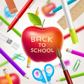 Back to school illustration red apple with greeting and stationery items Royalty Free Stock Images