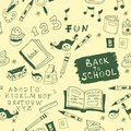 Back to school illustration seamless green and white pattern Stock Photos
