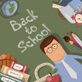 Back to school illustration with text on chalkboard Royalty Free Stock Photos