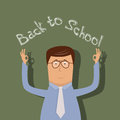 Back to school illustration with text on chalkboard Royalty Free Stock Images