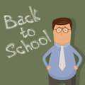 Back to school illustration with text on chalkboard Stock Photos
