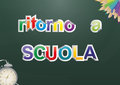 Back to school illustration of text with objects italian language Royalty Free Stock Image