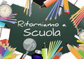 Back to school illustration of text with objects italian language Stock Image