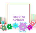 Back to school invitation card with flowers, education Royalty Free Stock Photo