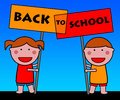 Back to school kids looking forward go Stock Images