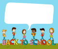 Back to school kids over text with social bubble education cartoon media speech vector layered for easy editing Royalty Free Stock Images