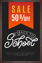 Back to school lettering with sale on chalkboard background. Tem
