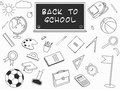 Back to School lineart set. Various school stuff supplies. Royalty Free Stock Photo