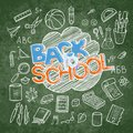 Back to School lined supplies collection. Sketchy notebook doodles set with lettering Royalty Free Stock Photo