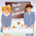 Back to school little school children vector illustration Stock Image