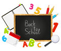 Back to school message on blackboard Stock Photo