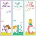 Back to School notes with  smiling happy kids Royalty Free Stock Photo