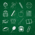 Back to school over blackboard background vector illustration Royalty Free Stock Images