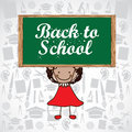 Back to school over greenboard background illustration Stock Photo