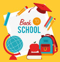 Back to school over yellow background vector illustration Royalty Free Stock Images