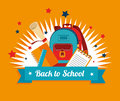 Back to school over yellow background vector illustration Royalty Free Stock Photography