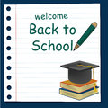 Back to school a paper for welcome with a beret and a pair of books Royalty Free Stock Photo