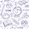 Back to school pattern vector illustration of seamless with elements Stock Photos