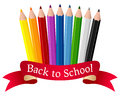 Back to school pencils and ribbon composition with colorful a red eps file available Royalty Free Stock Photography